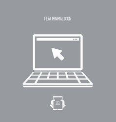 laptop and mouse pointer - flat minimal icon vector image