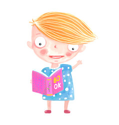 little girl reading book vector image