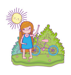 little girl with bicycle in the landscape vector image