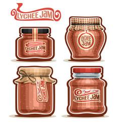 Lychee jam in jars vector