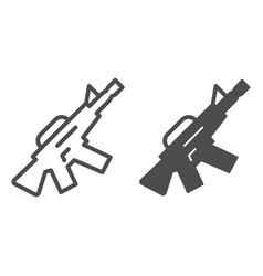 m16 machine gun line and glyph icon automatic gun vector image