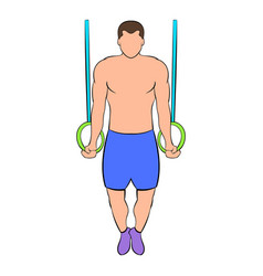 Man training on gymnastic rings icon cartoon vector