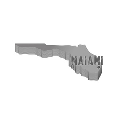 Map of Florida with Miami icon monochrome style vector image