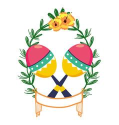 Maracas on laurel wreath vector