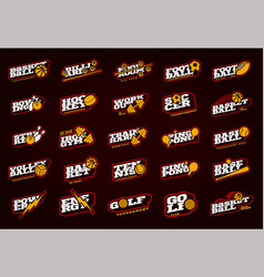 mega sport logotype set modern professional sport vector image