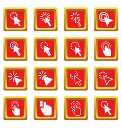 mouse pointer icons set red vector image