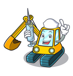Nurse excavator character cartoon style vector
