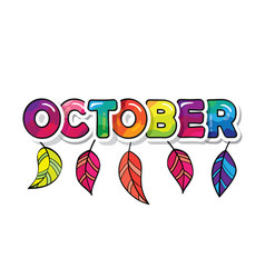 october cartoon paper cutout letters with leaves vector image