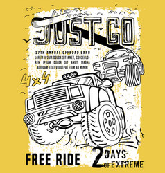 Off road hand drawn poste vector