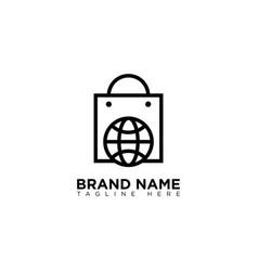 Online shop logo design monoline vector
