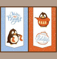 penguin with knitted socks and sweater christmas vector image