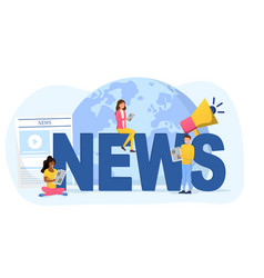 People around news sign reading newspapers vector