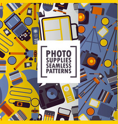 Photography accessory icons on seamless pattern vector