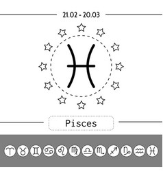 pisces signs of zodiac flat linear icons for vector image