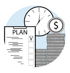 plan time and money line art vector image