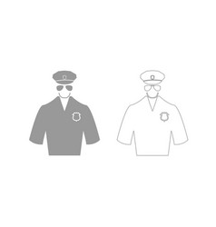 police grey set icon vector image
