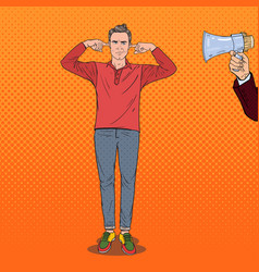 pop art frustrated man closed ears with fingers vector image