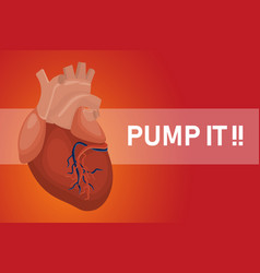 pump it heart poster for healthy hearts with red vector image