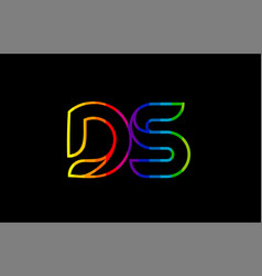 rainbow color colored colorful alphabet letter ds vector image