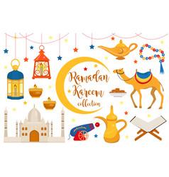 ramadan kareem flat icon set cartoon style vector image