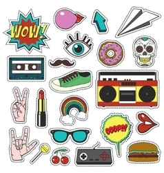 Retro patch badges set Collection of cartoon vector