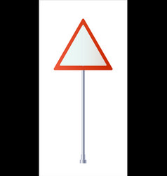 Road signs give way sign on a blue background vector
