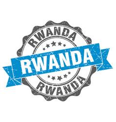 Rwanda round ribbon seal vector