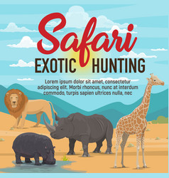 Safari exotic hunting african animals vector