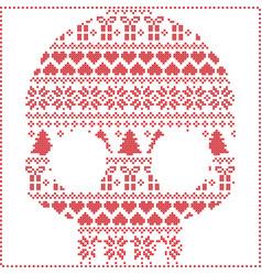 Scandinavian pattern sugar skull vector
