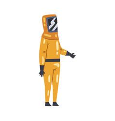 Scientist in protective suit and helmet working in vector