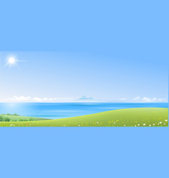 sea landscape with green hills vector image