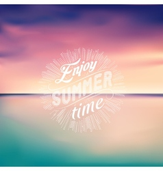 Sea sunset Seascape background Enjoy Summer time vector image