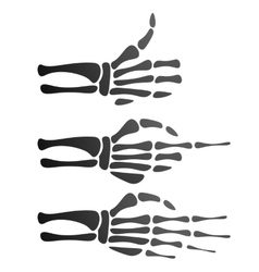 set of silhouette skeleton hand vector image