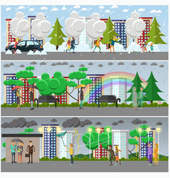 set of weather concept posters banners vector image