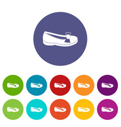 shoe icons set flat vector image
