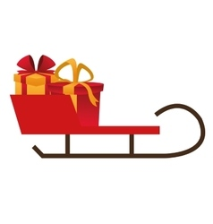 single sleigh with gifts icon vector image