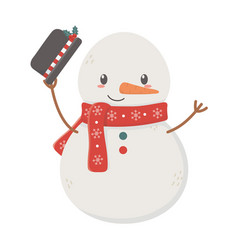 snowman waving hat celebration merry christmas vector image