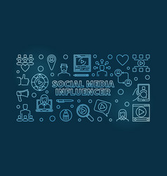Social media influencer blue outline vector