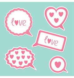 Speech bubble set with hearts and word Love Card vector image