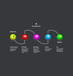 startup infographic template with 5 steps vector image