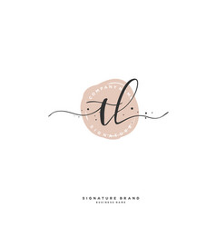 T l tl initial letter handwriting and signature vector