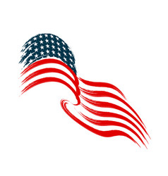 the us flag flies in wind vector image