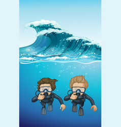 two divers under the ocean vector image