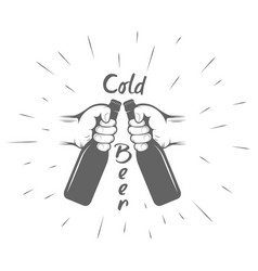 Two hands with thumbs up symbol icon cold beer vector