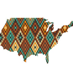 USA map patterned in native american texture vector image
