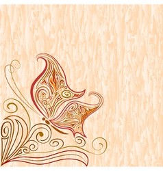 Vintage background with butterfly vector