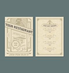 Vintage template for restaurant menu design vector
