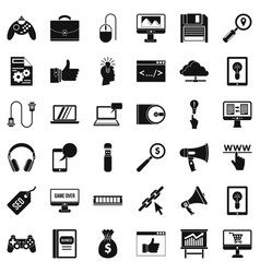 Web link icons set simple style vector