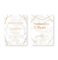 Wedding card design with golden frames and marble vector