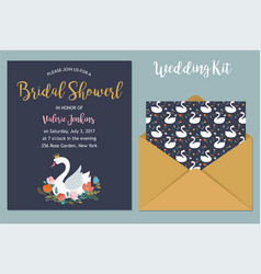 wedding with swan braidal shower invitation card vector image